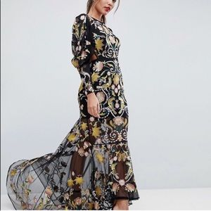 ASOS Backless Maxi Dress With Embroidery